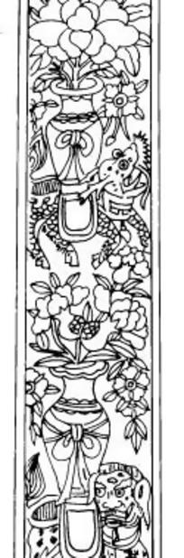 中国古典图案-花瓶里的叶子和花朵