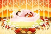 在床上睡觉的女孩和老虎猫