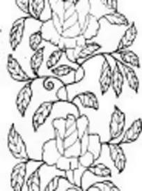 中国古典图案-待叶脉的叶子和花朵