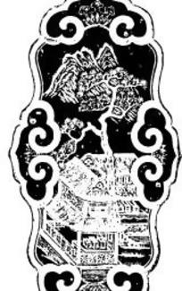中国古典图案-房屋和树木以及如意图形构成的斑驳的图案