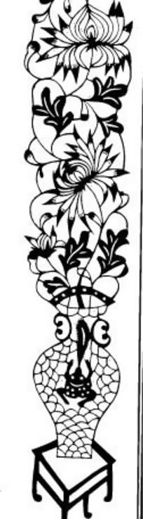 猫和花瓶黑白画