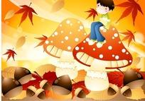 坐在蘑菇上的男孩和红色枫叶