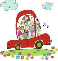 乘着汽车出去旅行的一群可爱小朋友