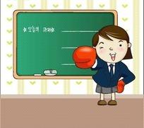 手戴拳击套穿着韩国校服微笑的卡通小女孩