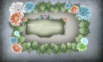 树叶和花朵围成的美丽边框PSD素材