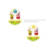 拥抱地球和星星的男孩女孩插画