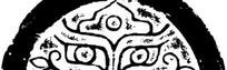 中国古典图案-卷曲纹和几何形构成的半圆形图案