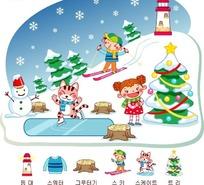 雪地里玩耍的男孩女孩和小猫