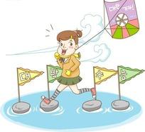 正在水上跨过石头路放风筝的女孩