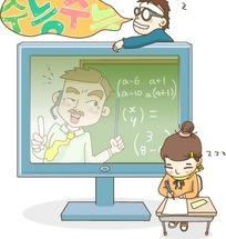 正在写字睡觉的女生和放着老师讲课的电视