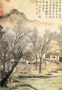 水墨画—古树下凭栏远眺的古人图片图片