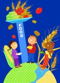 站在地球上拿着碗看着头顶上食物的人