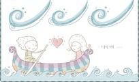 乘着小船在水面上开心划船的卡通小情侣