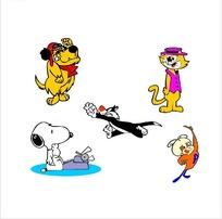 黄狗和戴帽子的猫咪等构成的矢量图
