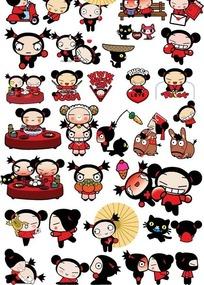 可爱卡通中国娃娃图片