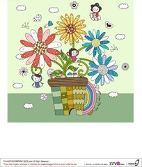 绿色格子花盆上长出四朵美丽的花朵和躺在上面睡觉的小女孩