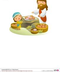 男人正在向小女孩买土豆