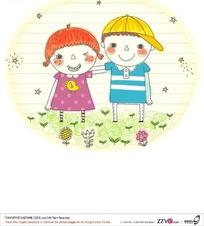 手绘草地上可爱的小女孩和小男孩