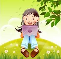 小女孩luotizaicaodishang_在草地上用手提电脑的女孩