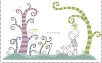 站在草地上的卡通小男孩和可爱小猫咪