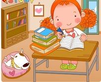 坐在凳子上写作业的卡通小女孩