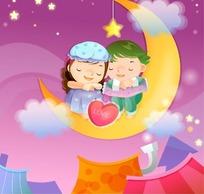 坐在月亮上抱着双膝相互靠在一起睡觉的小情侣