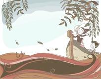 乘着小船在水面上开心郊游的一对卡通小情侣