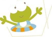 戴着救生圈的可爱小青蛙