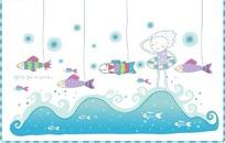 海浪中摸着头的孩子和线牵着的鱼群