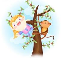爬在树上的卡通小女孩与可爱小猴子