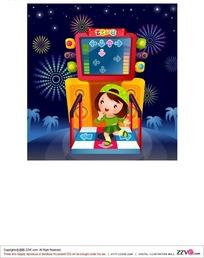 跳舞机上跳舞的小女孩