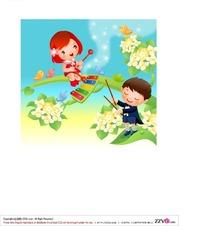在开花的树上弹奏乐器的小男孩和小女孩矢量图