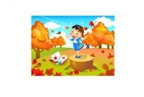站在树桩上跳舞的小女孩