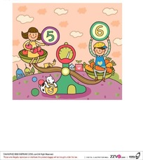 坐在跷跷板上的一个拿着6的男孩和一个拿着5的女孩矢量图