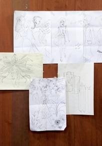 各种手绘时尚设计手稿