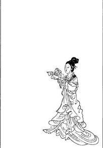 拿着风筝的古代女人