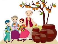 穿着少数名族服饰的老爷爷老奶奶男孩和女孩