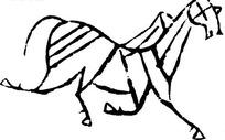 中国古典图案-飞奔的马构成的简洁图案
