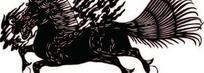 中国古典图案-尾巴撒开的飞奔的马