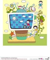 创意电视和玩耍的男孩女孩构成的矢量图