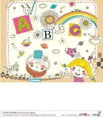 男孩女孩和彩虹构成的矢量图