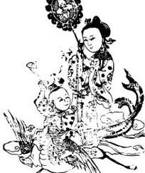 中国人物插画-骑着凤凰的女子和童子