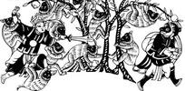 中国人物插画-追孙悟空的二郎神和树上的猴子