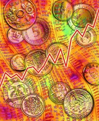 各国硬币图案组成的图片素材