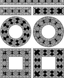 几何形构成的黑白花边边框