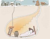 卡通女孩冬天在地下室睡觉