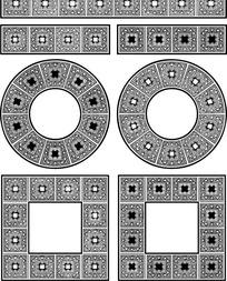 圆形方形和几何形构成的花边边框图片