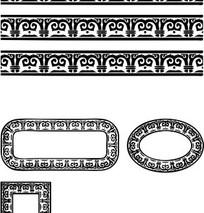 中国古典图案-卷曲纹构成的黑白花边边框