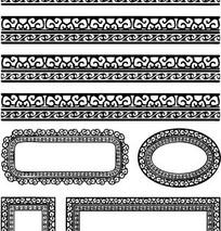 中国古典图案-卷曲纹构成的精美黑白花边边框