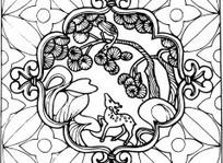 中国古典图案-站在卷纹上的鹿图片